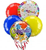 Balloons: Congratulations Balloon Bouquet-5 Mylar